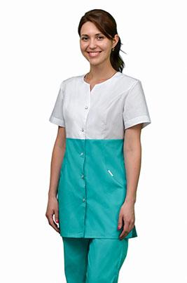 Бирюзовый медицинский костюм с коротким рукавом К-280-Б